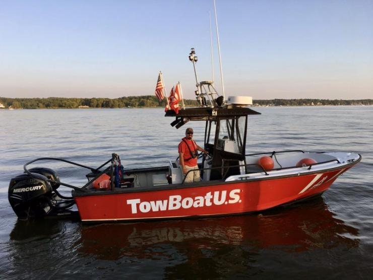 Capt. Brandon Meshey, new owner of TowBoatUS Chesapeake City, aboard one of his 24-hour on-water assistance company's response vessels. Courtesy TowBoatUS