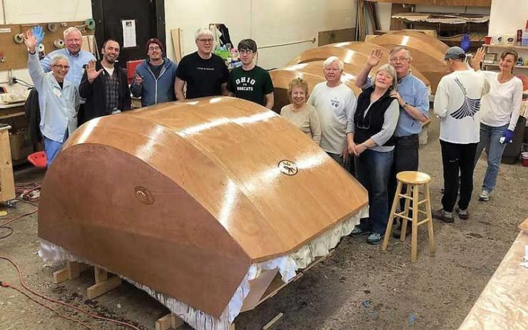 Boat builders turned tear drop trailer builders at Chesapeake Light Craft in Annapolis, MD.