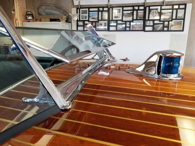 Newly re-chromed hardware sparkles on a Century Resorter at Custom Watercraft Restoration in Annapolis, MD.