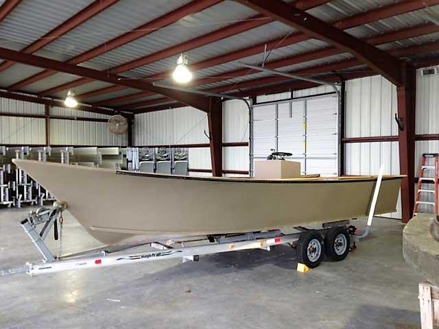 A 21-foot duck boat for Wingman Guide Service nears completion at Forrester Boat Works in Suffolk, VA.