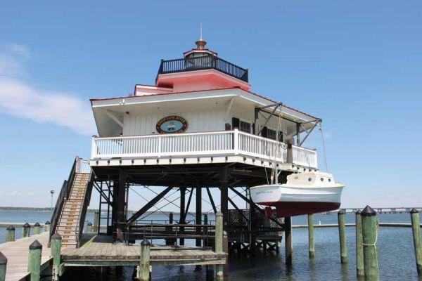 The Choptank River Lighthouse is a faithful replica of an earlier beacon that guided sailing vessels up and down the Choptank River.