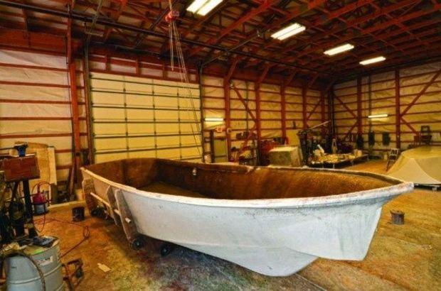 A fiberglass mold at Judge Yachts in Denton, MD. Photo by Mark Talbott.