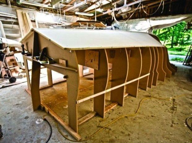 Composite construction. An example of a jig used to form the shape of a composite 27-footer at Bandy Boats in Riva, MD. Cold-molded boatbuilding employs a similar jig method. Photo by Gary Reich