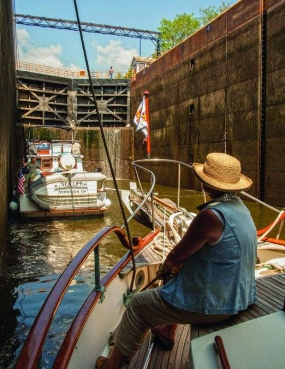 Locking through the Erie Canal in upstate New York