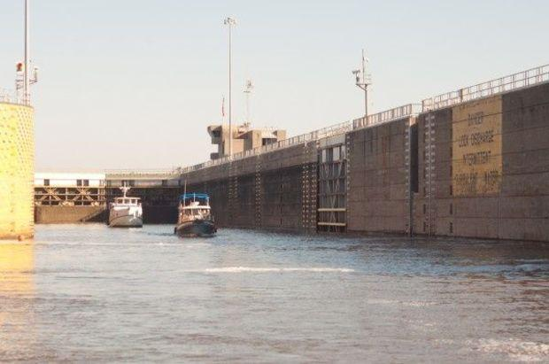 The large locks on the Ten-Tom Waterway take commercial and recreational traffic to Mobile, Alabama