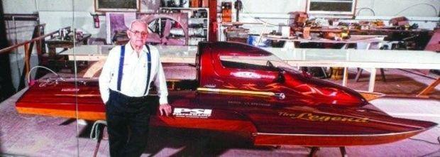 Henry Lauterbach with one of the hydroplane race boats he built.